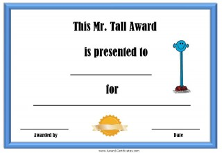 certificate for being tall with a picture of Mr Tall