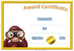 Award certificate with Curious George