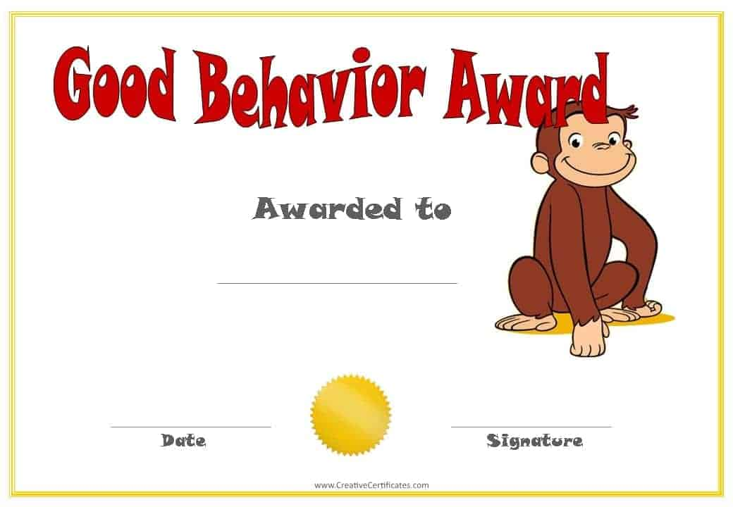 Good behavior award with Curious George