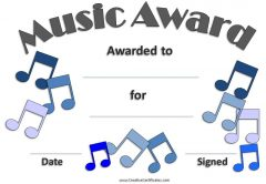 printable award with a grey border and blue music clipart