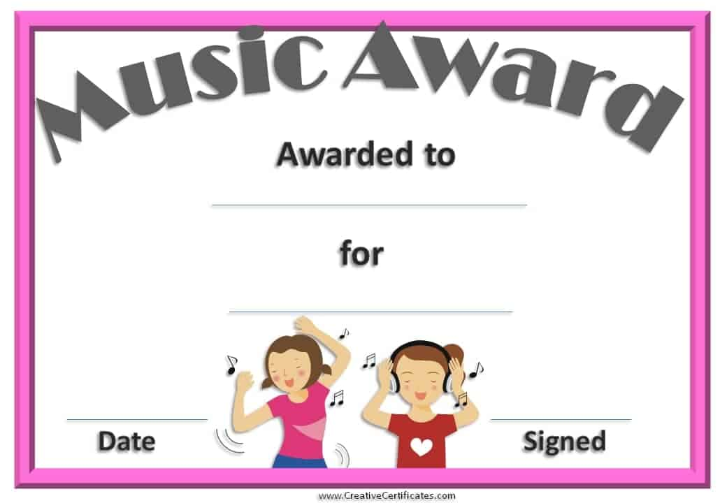 Music Certificate Template Free and Customizable – Performance Certificate Template