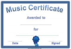 free printable music award with a blue border and a blue ribbon