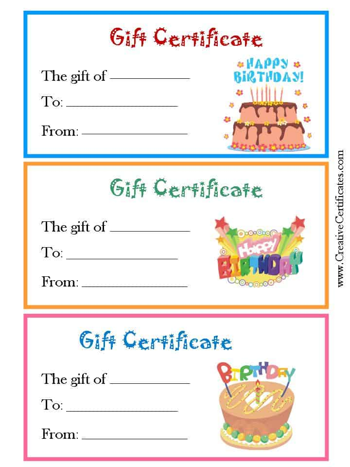 Gift Certificates – Birthday Gift Coupon Template