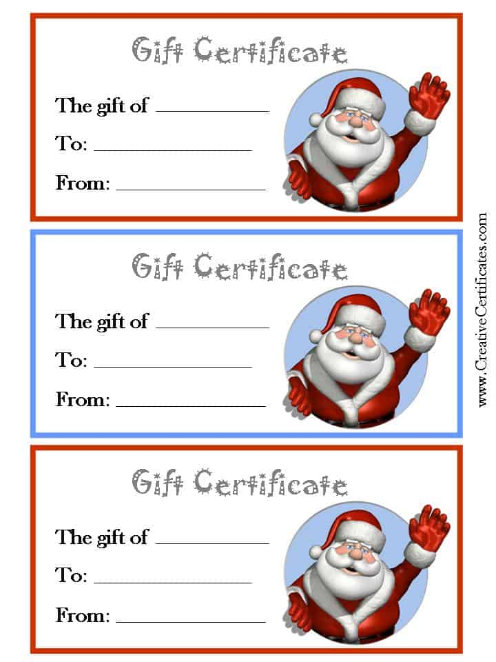 Xmas gift certificates with a picture of Father Christmas (3 per page)