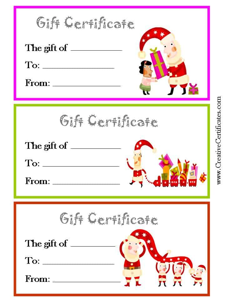 Printable christmas gift certificate new calendar template site for Holiday gift certificate templates