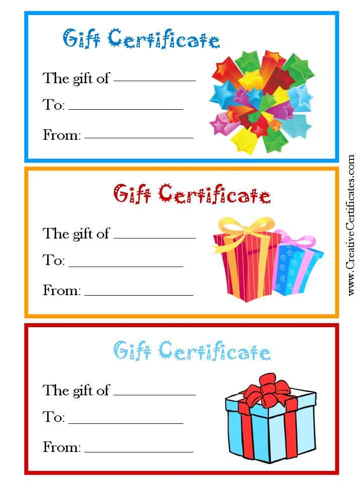 generic gift certificates with pictures of gifts with a blue yellow
