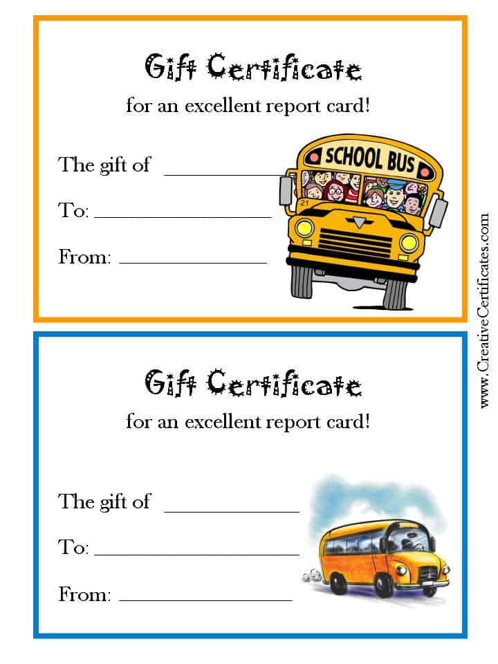 Gift Certificates for success in school with a picture of a school bus