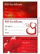3 Valentine Gift Certificates (two red and one white - all with hearts)