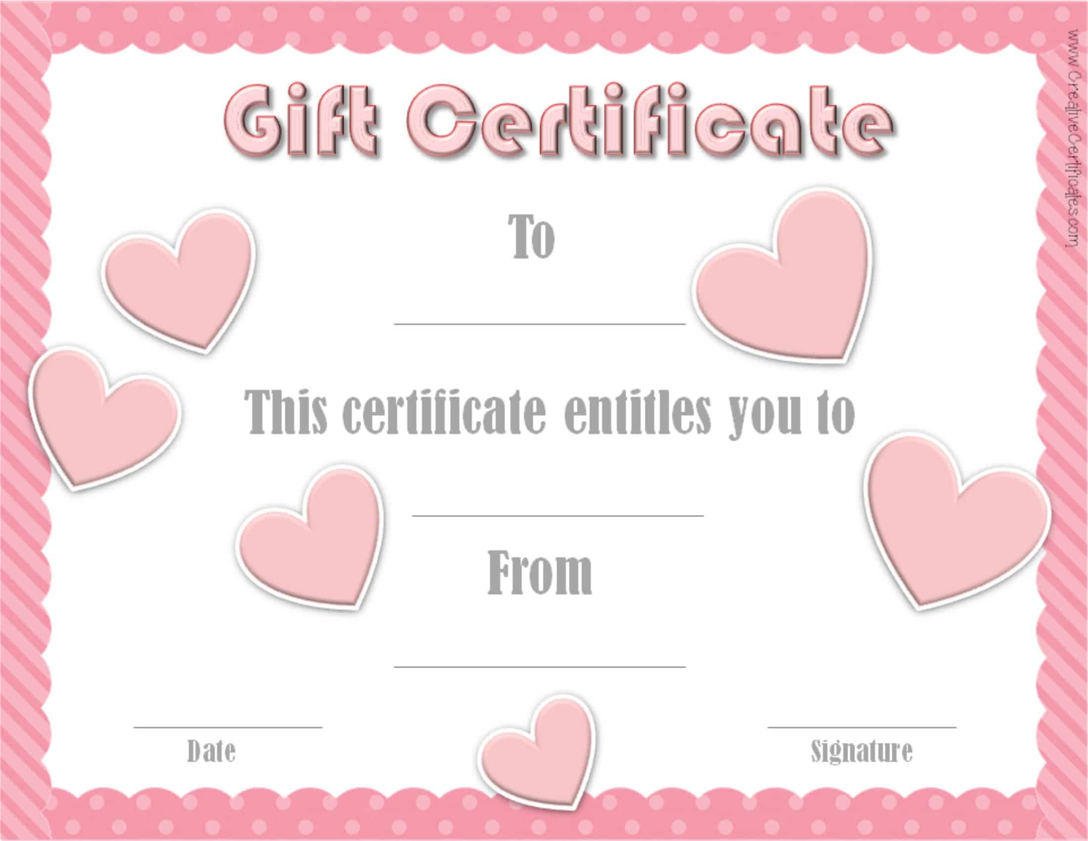 Valentines Gift Certificates – This Certificate Entitles You to Template