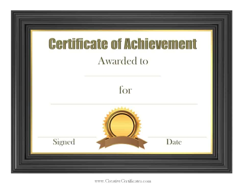 Free Customizable Certificate of Achievement – Free Certificate of Achievement