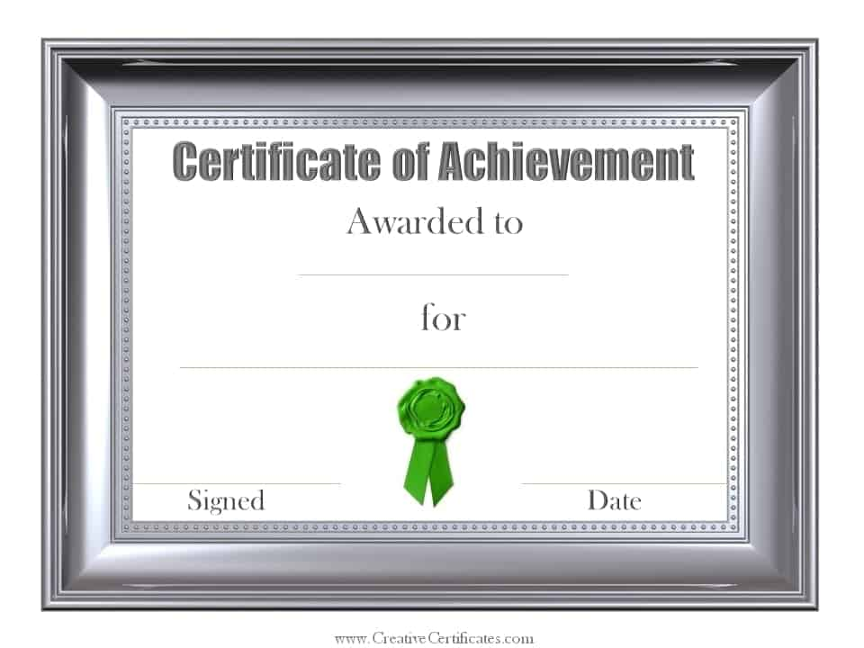 Free Customizable Certificate of Achievement – Template for Certificates