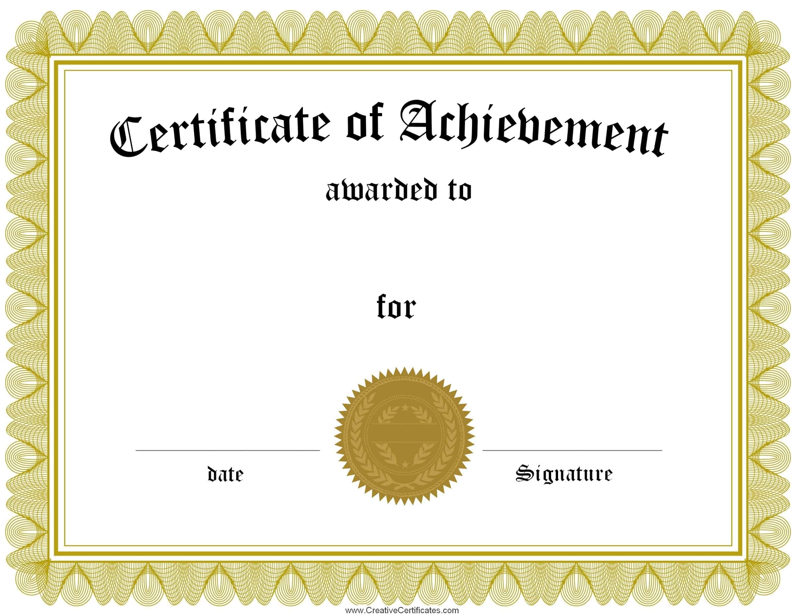 Free Customizable Certificate of Achievement – Blank Certificates Template