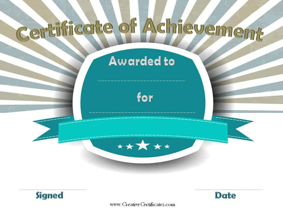 Certificate of Achievement – Free Achievement Certificates