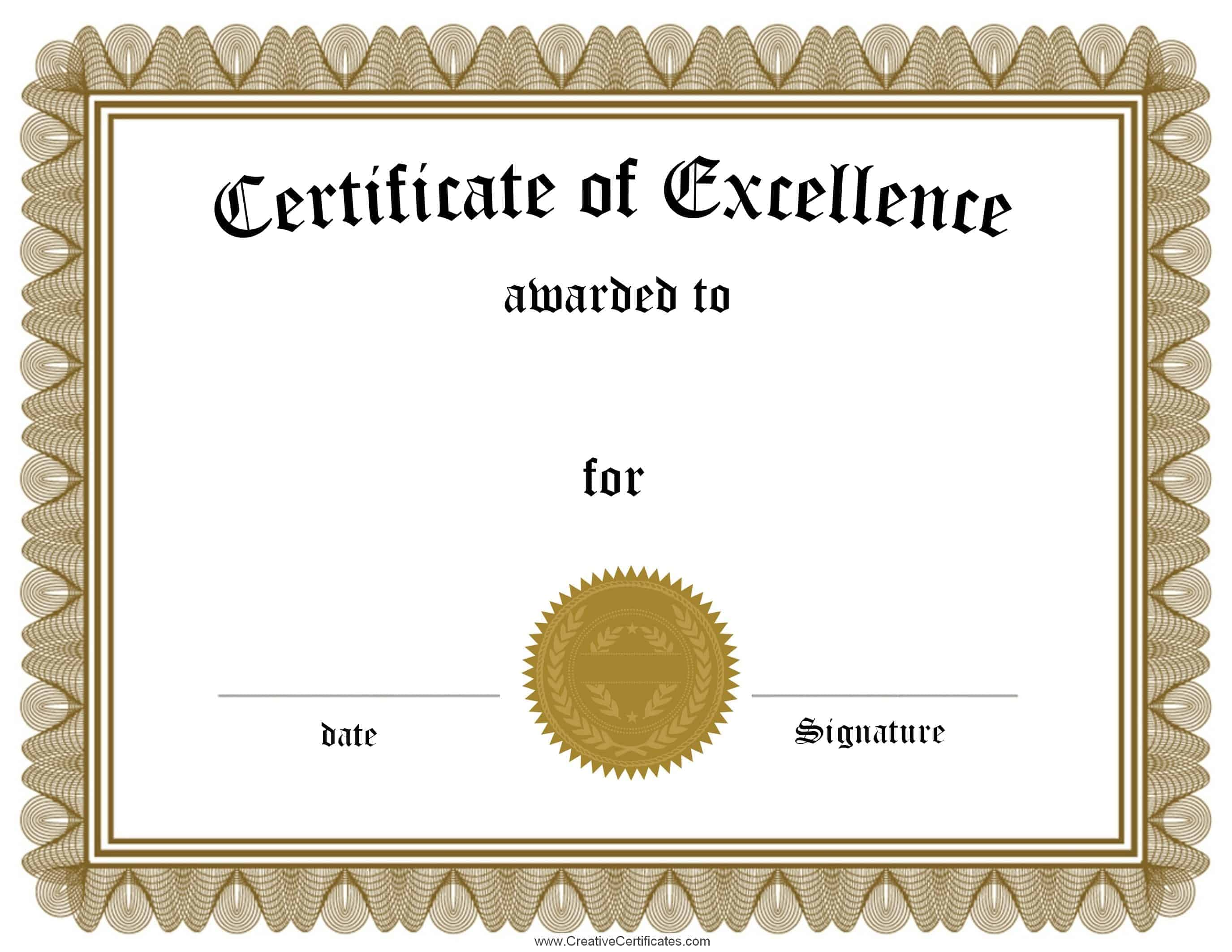 Free Customizable Certificate of Achievement – Certificate of Excellence Wording