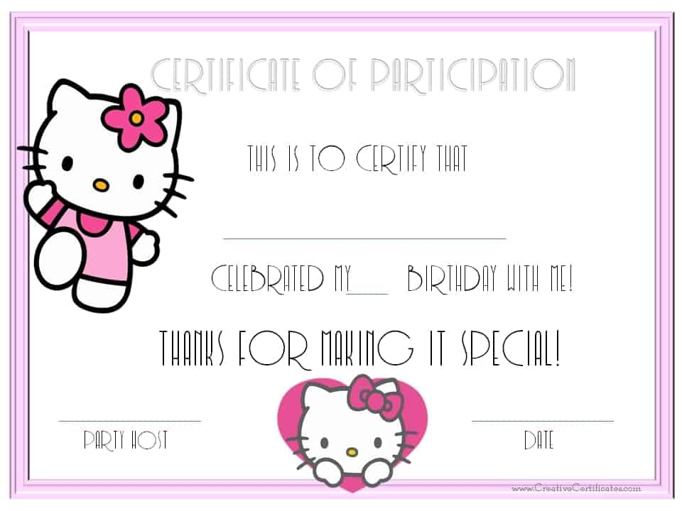 Birthday party guest certificates
