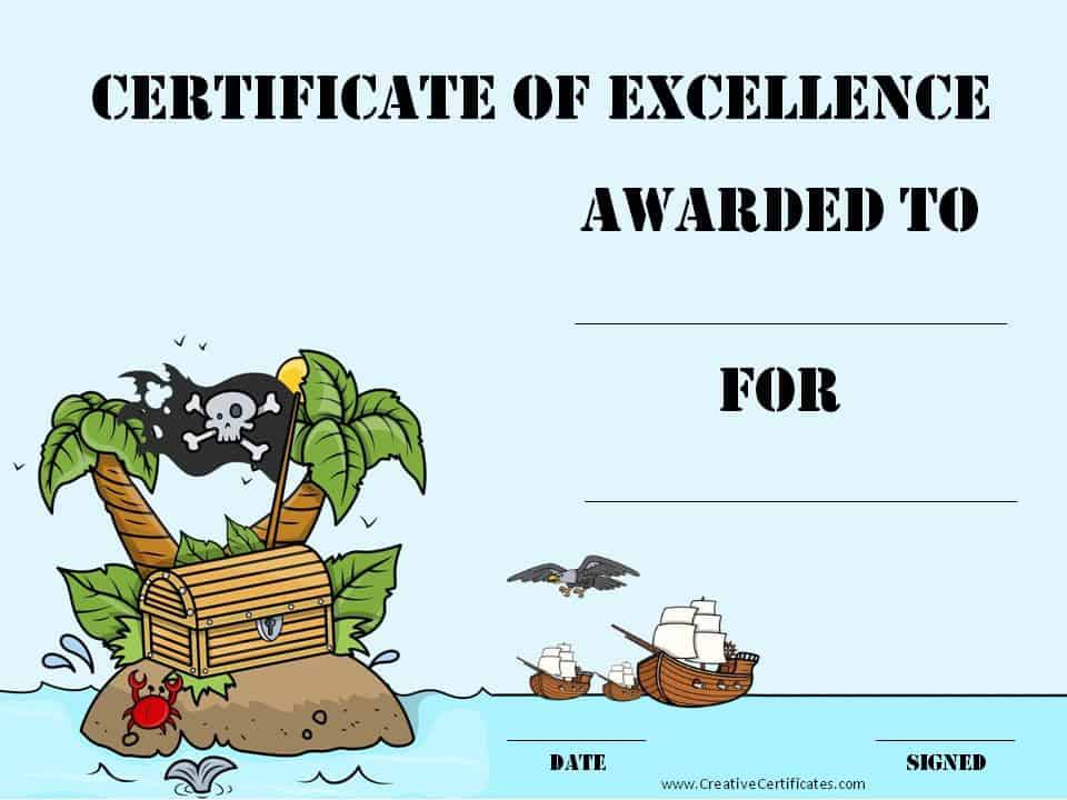 ... pirate award certificate of appreciation certificate template great