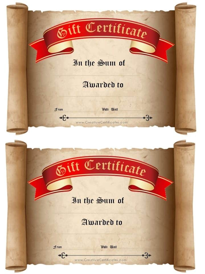 Free Gift Certificate Template customizable – Personal Training Gift Certificate Template