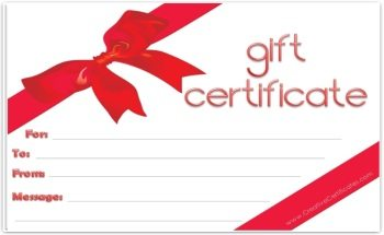 white background with a red ribbon tied around the gift certificate template