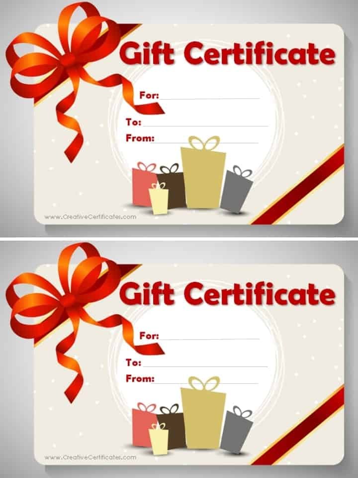 Free Gift Certificate Template customizable – Present Voucher Template