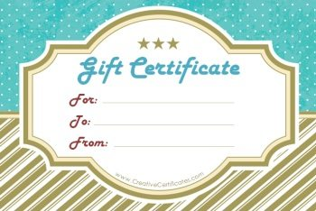 gift certificate template with gold stripes at the bottom and blue polka dots at the top
