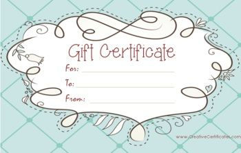 light blue gift certificate template with a cute design