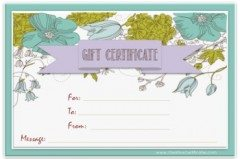 blue and green flowers with a blue background and a lilac ribbon