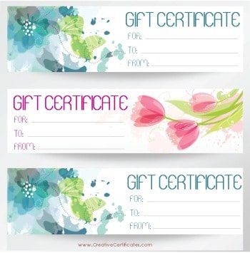 three gift certificate templates on one page with blue and pink flowers