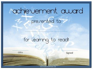 Achievement award certificate for learning to read
