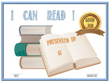 I can read award certificate template