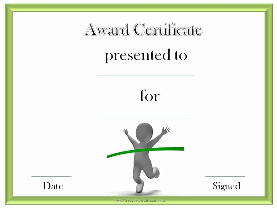 Track and field certificate templates free customizable for Running certificates templates free