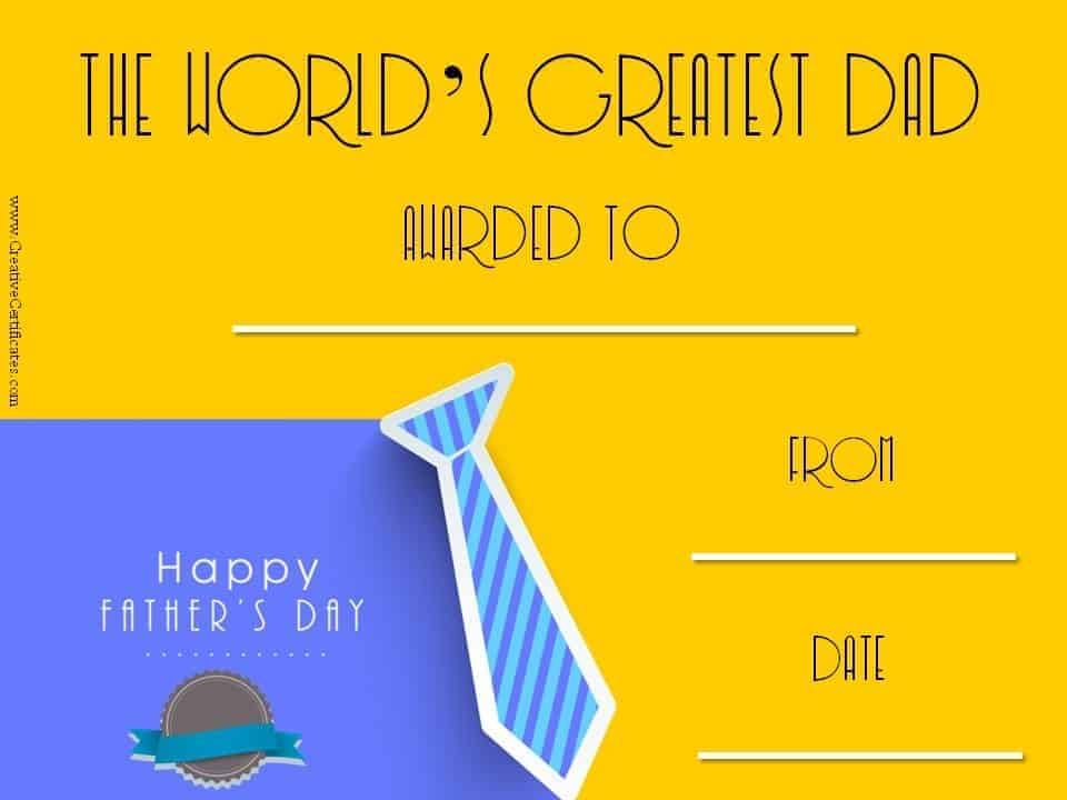 father's day certificate template .