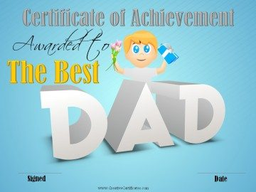 Certificate of Achievement for the Best Dad