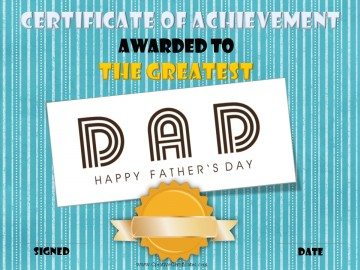 Award certificate for the greatest dad