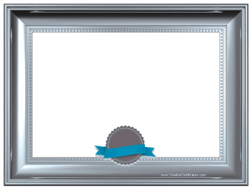 Silver frame border template with a grey and blue ribbon