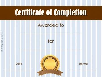 Award for Completion with blue striped background with a brown title and a gold seal.
