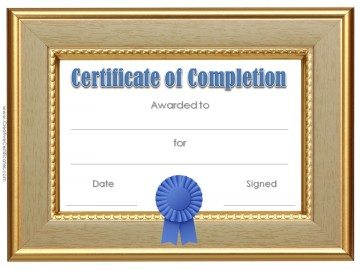 Formal certificate with a gold wooden frame and a blue ribbon.
