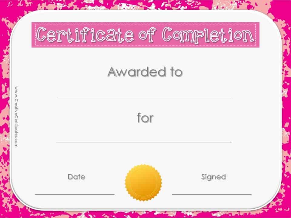 Certificate of Completion Template – Template Certificate of Completion