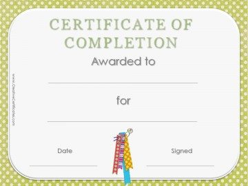 Certificate of completion template with green polka dot background and colored ribbons.