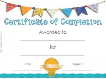 Printable Award Certificate with a colored banner and a gold seal.