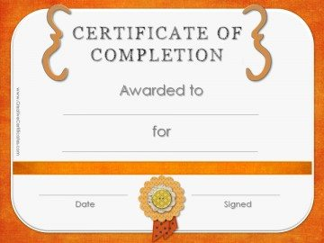 Completion Award with an orange border with an orange ribbon.