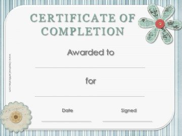 Completion Certificate with blue striped border with paper flower embellishments.