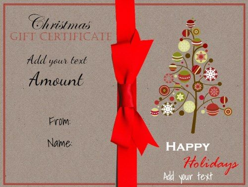 Christmas printable with a drawing of a Christmas tree and a red ribbon