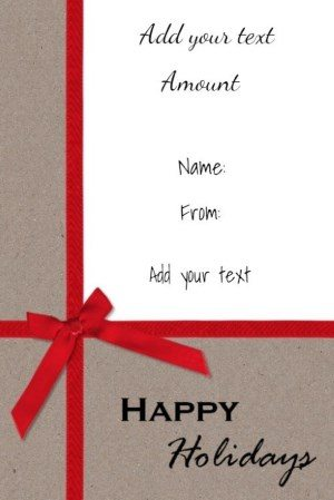 Free printable gift certificate on textured paper with a red ribbon