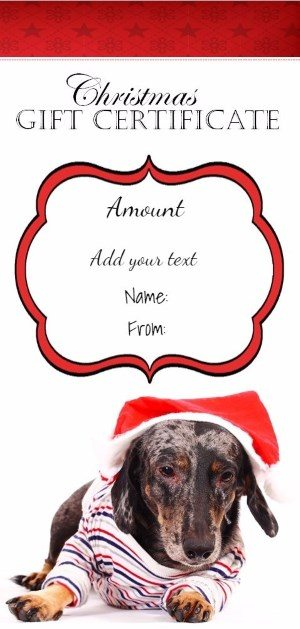 Christmas printable with a picture of a cute dog wearing a Santa hat
