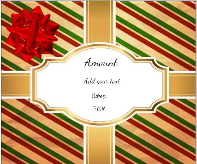 Christmas Gift Certificate Templates – Fillable Gift Certificate Template