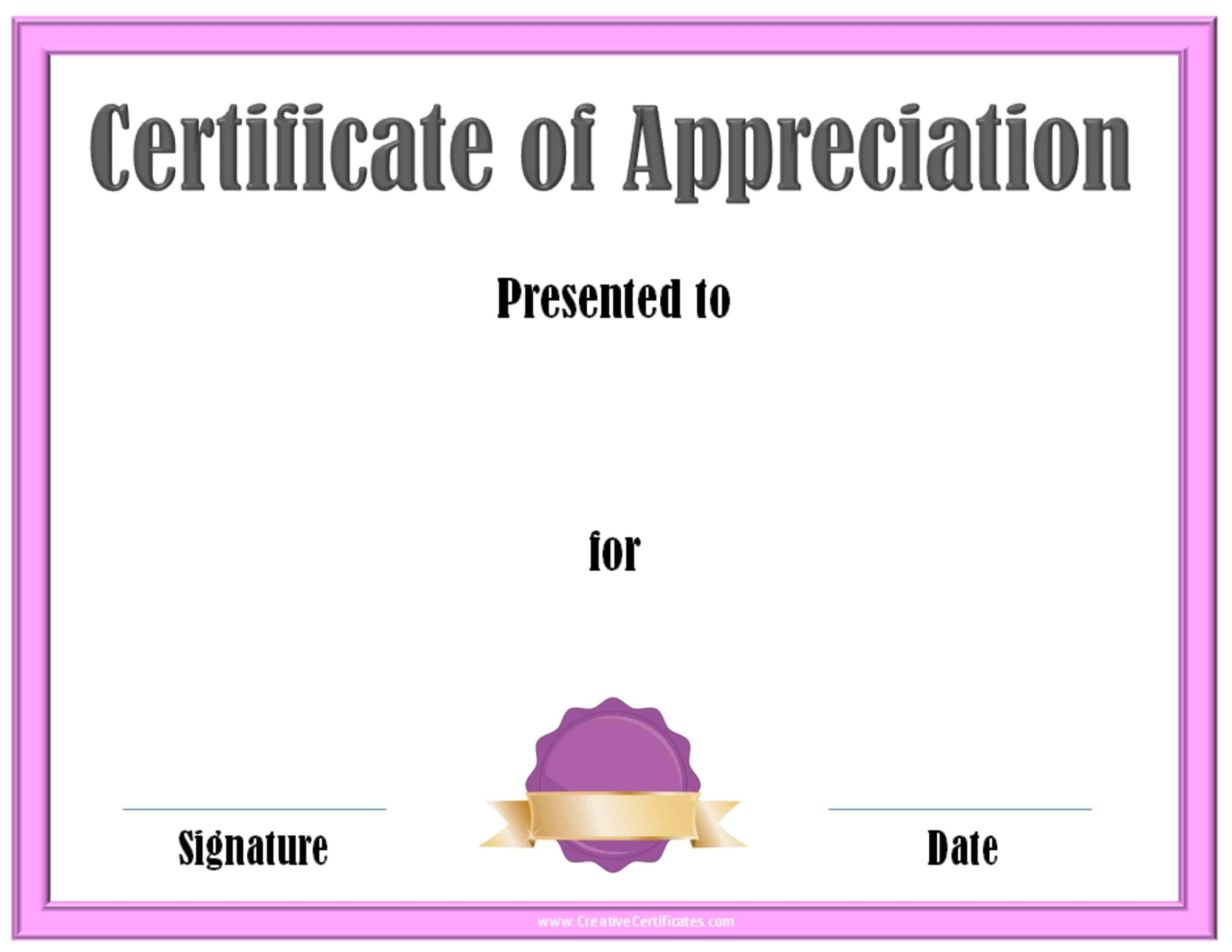 Certificate of Appreciation Template – Certificates of Recognition Templates