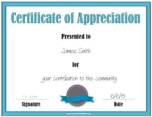 Pics Photos - Printable Certificate Of Appreciation Templates