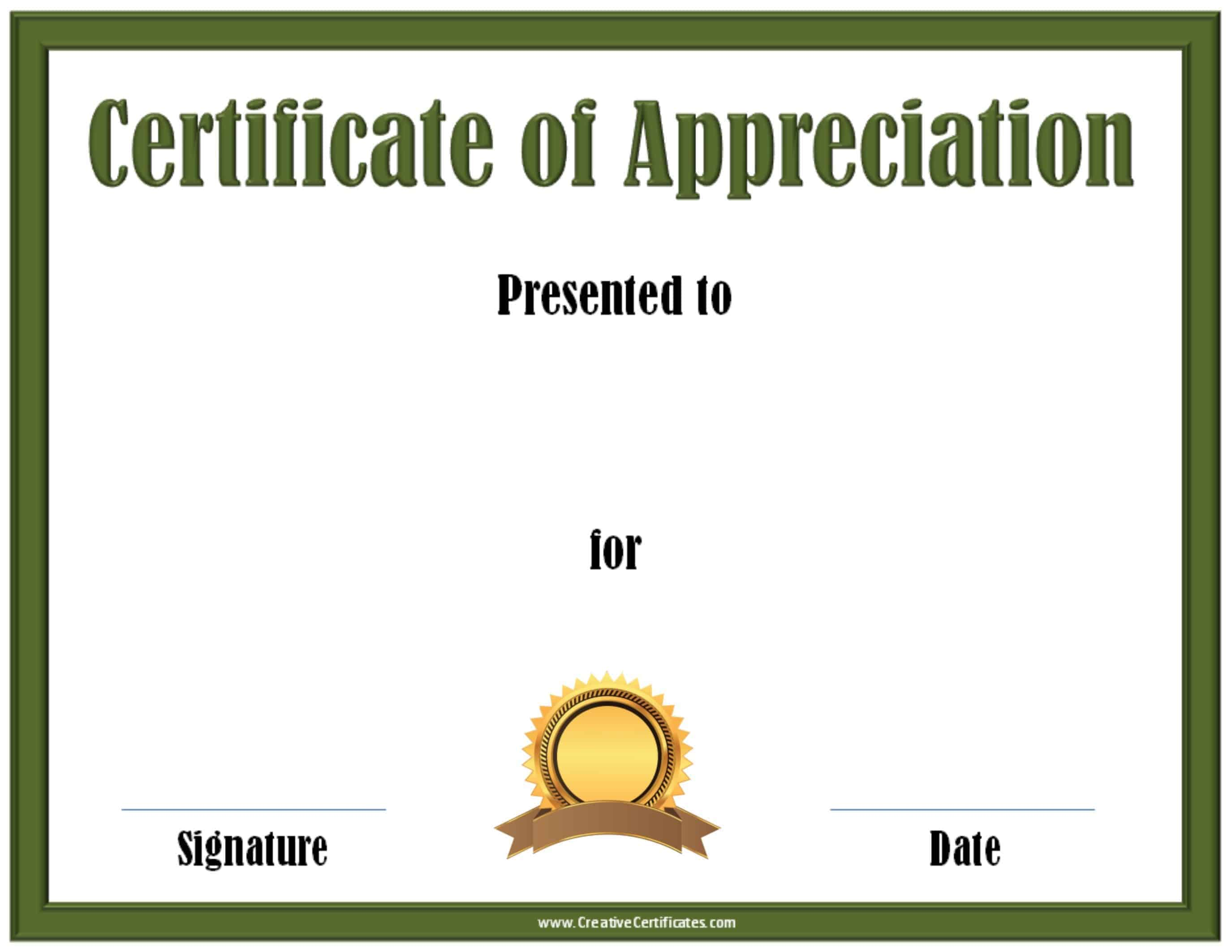 certificate of appreciation template printable green certificate template a gold and brown award ribbon