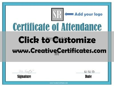 Attendance Award Certificate for companies