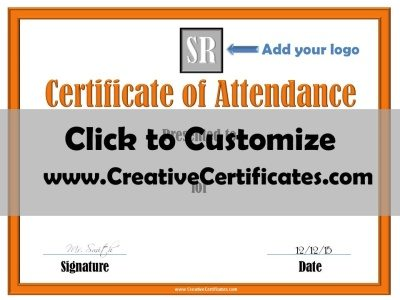 Certificate of Attendance with company logo
